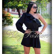 Szatén félvállas fekete női ruha