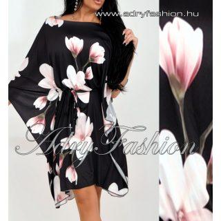 Fekete alapon virág mintás lenge lepel ruha