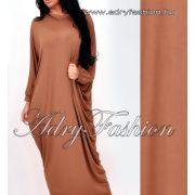 Csau barna bő fazonú maxi női ruha hátán gumírozott