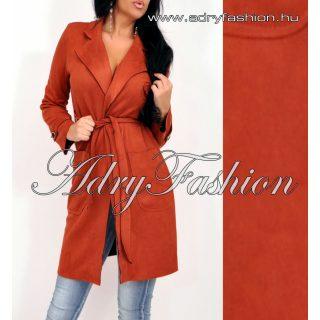 Tégla vörös szarvasbőr hatású csinos női kardigán