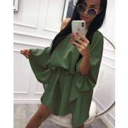 Keki zöld színű lenge lepel ruha derekán megkötős