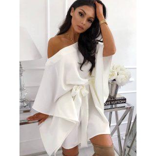 Fehér lepel ruha derekán megkötős