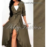 Keki színű átlapolt fodor díszes maxi női ruha derekán megköthető - fehér top nélkül