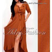 Csoki barna átlapolt fodor díszes maxi női ruha derekán megköthető