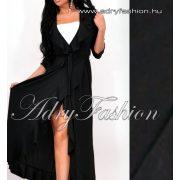 Fekete színű  átlapolt fodor díszes maxi női ruha derekán megköthető - fehér top nélkül