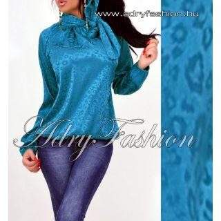 Kék párduc mintás elegáns női szatén felső nyakánál megkötős