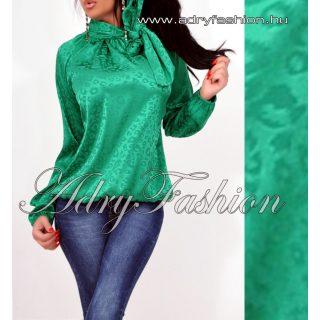 Zöld párduc mintás elegáns női szatén felső nyakánál megkötős