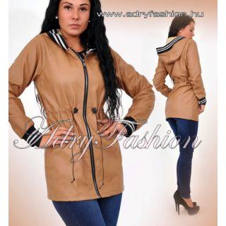Világos barna műbőr derekán állíthatós kapucnis kabát