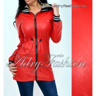 Piros műbőr derekán állíthatós kapucnis kabát