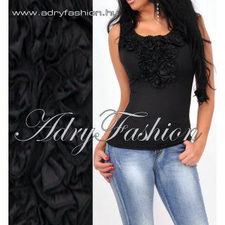 Zsabós díszes fekete alkalmi női trikó