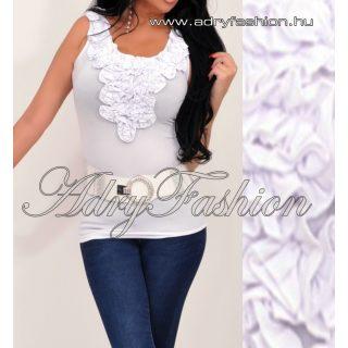 Zsabós díszes fehér alkalmi női trikó