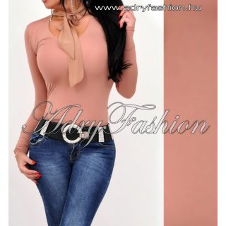 Csau barna nyakánál megkötős női felső