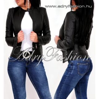 Fekete cipzáros műbőr dzseki