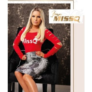 MISSQ Neszta felső piros színű ujjánál szaggatott S-es