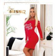 Missq Neszta ruha piros S - es ujjánál szaggatott