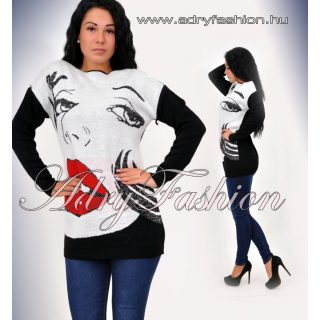 Nőci arcos kötött pulcsi fekete-fehér