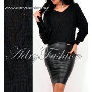 Fekete kötött mini pulcsi fonott mintás