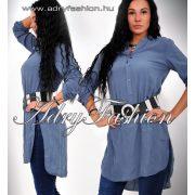 Kék színű laza ing ruha mellénél zsebbel - öv nélkül