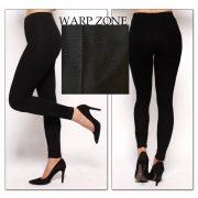 Warp Zone fekete pamut cicanadrág , legging  bokánál fekete strassz dísszel