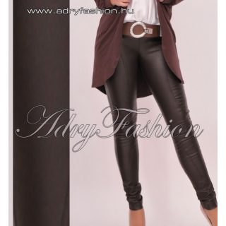 Warp Zone barna bőrhatású nadrág