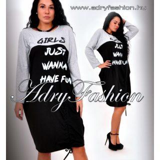 Szürke fekete lenge női ruha feliratos