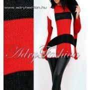 Kötött kocka mintás piros-fehér-fekete laza női felső