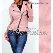 Púder rózsaszín - mályva Szarvasbőr hatású női átmeneti dzseki