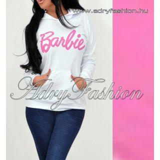 Fehér színű zsebes pulcsi Barbie felirattal kapucnis