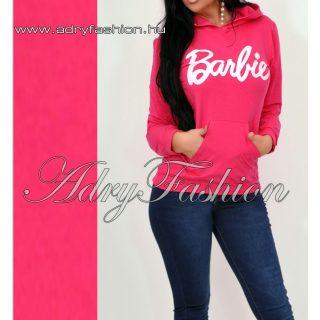 Pink SZÍNŰ zsebes pulcsi Barbie felirattal kapucnis
