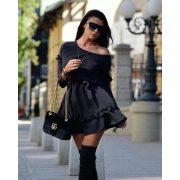 Fekete elegáns fodros női ruha megkötős