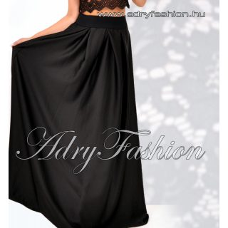 Fekete színű gumis derekú maxi szoknya