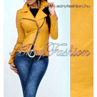 Mustár sárga átlapolt cipzáros női műbőr dzseki