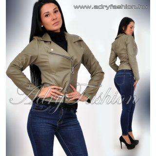 Keki átlapolt cipzáros női műbőr dzseki