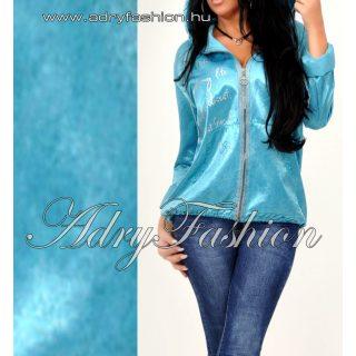 Türkiz kék vékony dzseki kapucnis