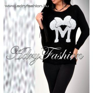 Fekete M kötött pulcsi