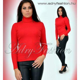 Piros garbós vastag anyagú bordás női felső