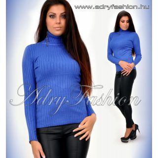 Király kék garbós vastag anyagú bordás női felső