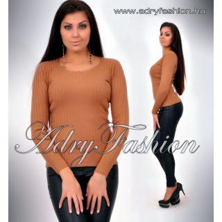 Csau barna kerek nyakú vastag anyagú bordás női felső