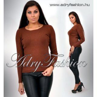 Csoki barna kerek nyakú vastag anyagú bordás női felső