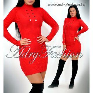 Warp Zone piros színű gomb díszes kötött női ruha