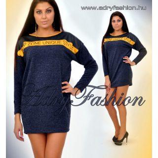 Warp Zone kék színű lenge női ruha bőrhatású betéttel