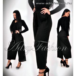 Fekete csillogós alkalmi női nadrág derekán megkötővel