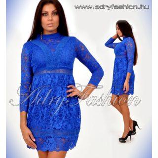 Király kék csipke díszes alkalmi női ruha