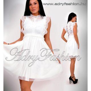 Alkalmi fehér nyomott csipke mintás lenge női ruha