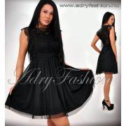 Alkalmi fekete nyomott csipke mintás lenge női ruha