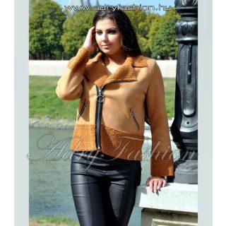 Barna színű irha jellegű átlapolt cipzáros női kabát