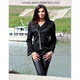 Fekete irha jellegű átlapolt cipzáros női kabát