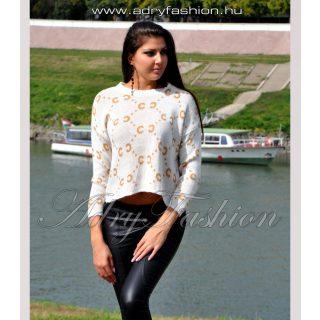 Fehér kötött anyagú mustár sárga mintás női pulcsi