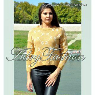 Mustár sárga kötött anyagú fehér mintás női pulcsi