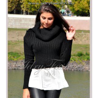Vállra húzható fekete kötött anyagú női felső ing aljjal